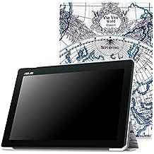 MoKo Asus ZenPad 10 Funda - Ultra Slim Lightweight Función de Soporte Protectora Plegable Smart Cover Durable para Asus ZenPad 10 Z300C / Z300M / Z300CNL / Z300CG / Z300CL 2015 Tableta, Map F