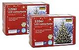 2x Idena 8325097 - LED Lichterkette mit Timerfunktion, 120er warm weiß, für außen