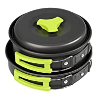 BelleStyle 9 Pcs Camping Cookware Mess Kit - Backpacking Hiking Outdoor Picnic Cooking Gear - Bowls Utensil Pot Pan Set -Bag Cooking Equipment Cookset - Lightweight, Compact, Durable Pot Pan Bowl 3