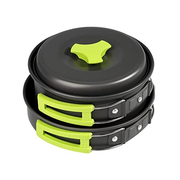 BelleStyle 9 Pcs Camping Cookware Mess Kit - Backpacking Hiking Outdoor Picnic Cooking Gear - Bowls Utensil Pot Pan Set -Bag Cooking Equipment Cookset - Lightweight, Compact, Durable Pot Pan Bowl 1