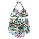 Luckycat Damen Druck Bikini Set Push up Badenanzug Neckholder Brasilianische Bademode Zweiteilig Schwimmanzug Große Größen (XXXX-Large, Grün)