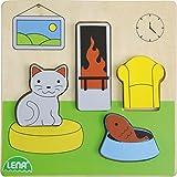 Lena 32142 - Holzpuzzle Wohnzimmer,Kinderpuzzle mit Grundplatte 14 x 14 cm und 4 Puzzleteilen, Teile und Platte aus 100% FSC Holz, Puzzlespiel für Kinder ab 18+ Monaten, Legespiel für Kleinkinder