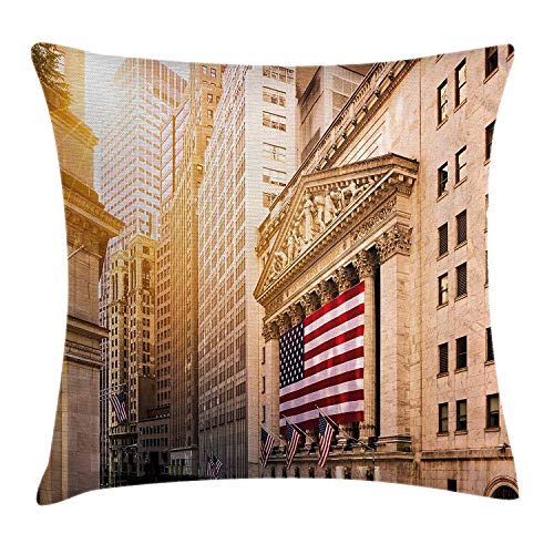 ZTLKFL United States Throw Pillow Cushion Cover, Famous Wall Street Building New York Stock Exchange with Flags Urban, Decorative Square Accent Pillow Case, 18 X 18 inches, Sand Brown Navy Red
