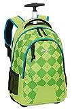 Schulrucksack Allround-Rucksack Trolley Schultasche Schulranzen Rollenrucksack Tasche Daypack Karomuster grün Limette