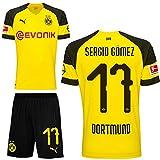 Puma BVB Borussia Dortmund Fußball Set Home Heimset 2018 2019 Herren Sergio Gomez 17 Gr XL