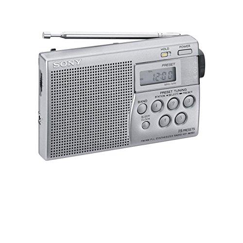 Sony ICF-M260 - Radio digital portátil (FM/AM, 15 presintonías, función reloj), color plateado