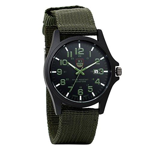 Avaner Herren-Uhr Armbanduhr Casual 10 m wasserabweisend Woche Datum Display Analog Japanisches Quartz mit Armee Grün Nylon Gurt Sport Armbanduhr