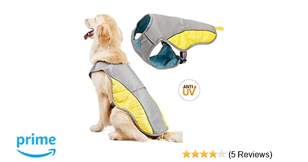 bb282880c0bc2 Topone Dog Cooling Vest/Pet Summer Coat Harness/Breathable Sun-proof Dog  Jacket/Suitable for Large Dogs,XL,Yellow/Grey