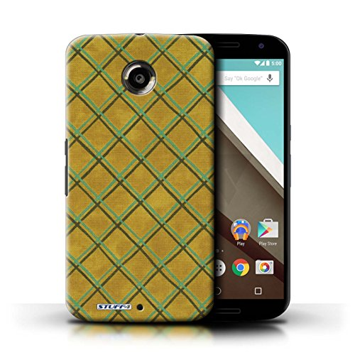 Kobalt® Imprimé Etui / Coque pour Motorola Nexus 6 / Vert/Bleu conception / Série Motif Entrecroisé Jaune