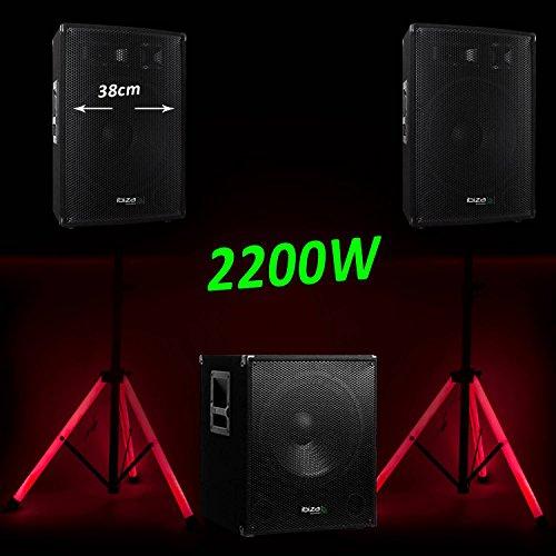 Pack 1515PA Ibiza 2200W 2Lautsprecher Disco Subwoofer bi-amplifié + Füße beleuchtet (1515 Halloween Le)
