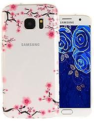 """Aeeque® Ultra Fine Coque Samsung Galaxy S7 5.1"""" (SM-G930) en Silicone TPU Souple Transparent Résistant Anti Choc Housse Etui de Protection avec Motif Fleur de Prune Rose"""