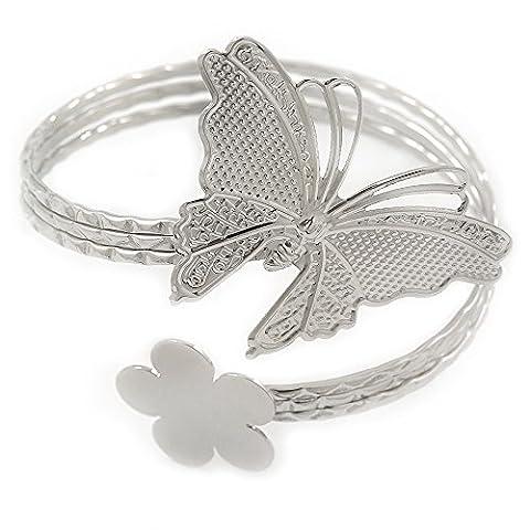 Silver Plated Hammered Butterfly & Flower Upper Arm, Armlet Bracelet - Adjustable