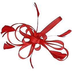 Frcolor Boda nupcial pluma fascinador pinza pelo Tocados de Novia de la boda Celada para las Mujeres (rojo)