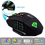 GamKoo Varanus 16400 DPI Hochpräzision Laser MMO Gaming Maus für PC, 18 programmierbare Tasten, Gewichtanpassung-Kasette, 12 seitliche Tasten, 5 programmierbare Benutzerprofile, Omron-Schalter