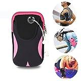 Sport Armtasche Tasche Sportarmband Hülle Laufen Handytasche für Bewegung Joggen Workout Rad fahren Wandern Reiten für iPhone X 8 7 6 6 s Plus SE 5 5 S Samsung Galaxy usw. (Schwarz/Pink)