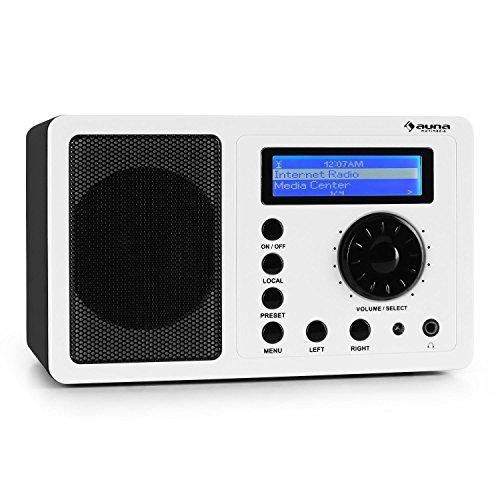 auna IR-130 WH Internetradio WLAN Radio (Soft-Touch-Oberfläche, 8000 Internetradio-Stationen, Breitbandlautsprecher, Fernbedienung) weiß