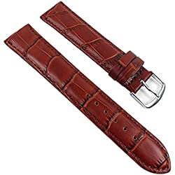 Eulit Guinea Replacement Band Watch Band Leather Kalf Strap brown 8007_25S, Abutting:20 mm