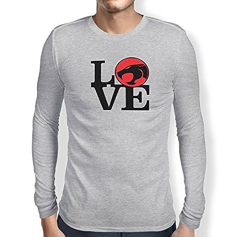 TEXLAB - Thunder Love - Herren Langarm T-Shirt, Größe L, grau meliert (He-man-kostüm Für Kinder)