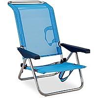 Solenny Silla plegable de playa de aluminio, 4 posiciones y asas para el transporte, tejido textiline transpirable en color azul