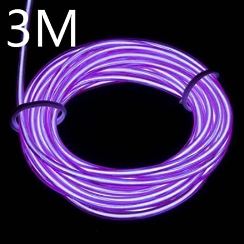Lychee Portable Battery Pack Neon Glowing Strobing Electro Luminescent El Wire Light With 3 Modes (3m 9ft, viola)