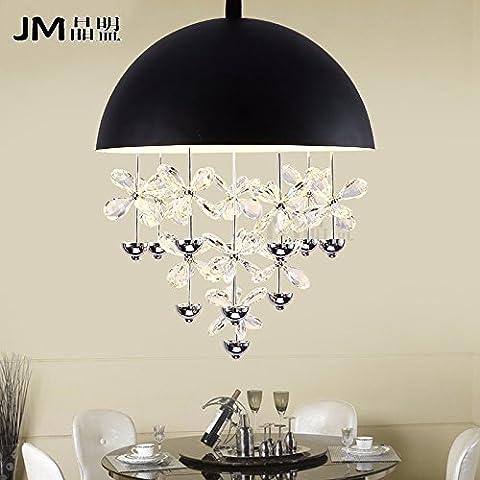 Tytk Il nuovoIl LedIl ristorante è luminoso lampadari di cristallo sala da pranzo luminosa personalità rotondo moderno minimalista singola testa lampadari luminosi con tavolo da pranzoTappo biancoPiccolo/Diametro35cm,Nero diametro