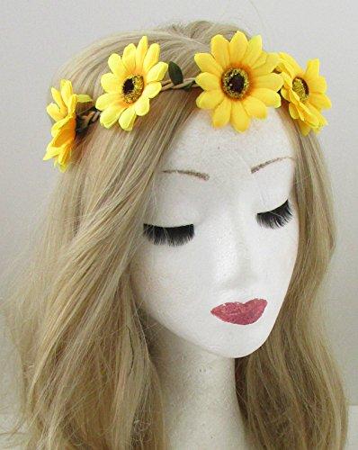 Jaune tournesol Fleur Bandeau Cheveux Couronne Festival Guirlande élastique Boho 865 * exclusivement Vendu par Starcrossed Beauty *