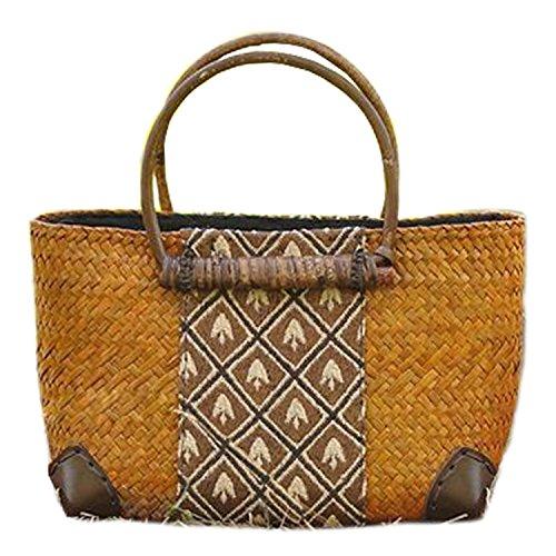 broderie à la main en tricot / armure toile de sac à main de bambou rotin paille / sacoche / Sacs portés épaule / Sacs portés main brun