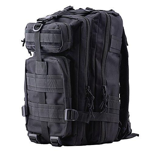 Imagen de hukoer  táctica impermeable de moda 28l para excursionismo montañismo senderismo y viaje al aire libre macuto militar y deportiva de alta calidad bolsa de viaje negro