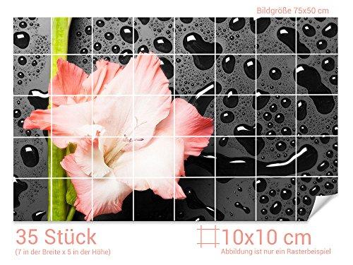 Graz Design 761436_10x10_50 Fliesenaufkleber Lilien-Blüte/Schiefer für Kacheln | Wand-Deko für Bad/Küchen-Fliesen (Fliesenmaß: 10x10cm (BxH)//Bild: 75x50cm (BxH))