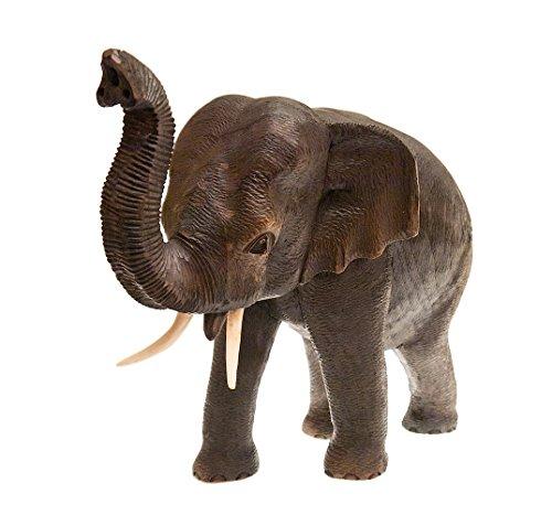 Elefant, stehend, Rüssel erhoben, Teakholz, Holzfigur, Deko, Dekoration, Dekofigur, Holzdeko, Skulptur, Schwarzbraun