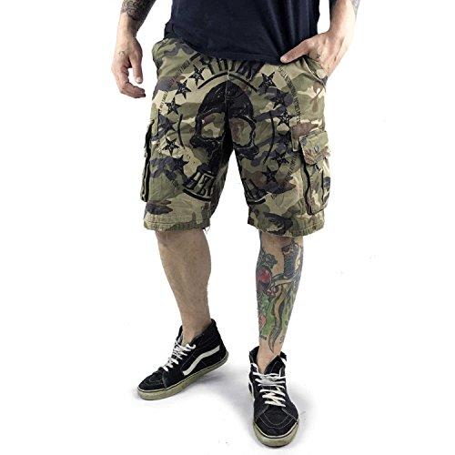 Yakuza Original Herren Skull Label Cargo Shorts Camouflage