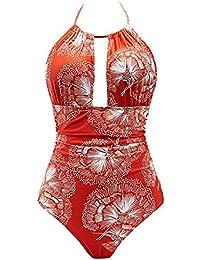 SMILEQ Trajes de baño de una Pieza para Mujer Trajes de baño Monokini para Adelgazar Halter