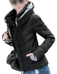 SODIAL (R) caliente de invierno nuevas mujeres coreanas adelgazan acolchada gruesa chaqueta acolchada abrigo Negro - XL