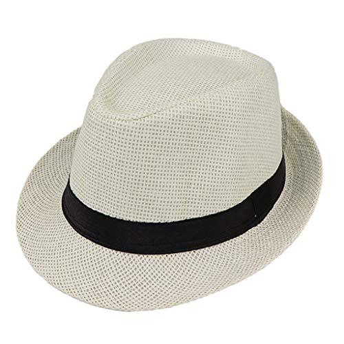 JOYKK Kinder Strohhut Sommer Strand Jazz Panama Trilby Fedora Hut Gangster Mütze Outdoor Breathable Hüte Mädchen Jungen Sonnenhut - C # Milk White