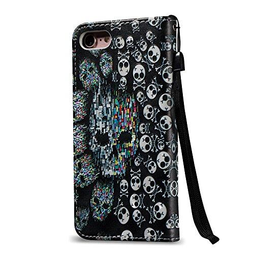 """MOONCASE iPhone 7 Coque, [Skull] Relief Motif Protection en PU Cuir Folio Housse Béquille Etui à rabat Case Cover avec Porte-cartes Fentes Fermeture Magnétique pour iPhone 7 (4.7"""") Skull"""