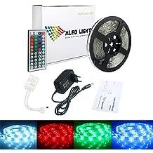 ALED LIGHT® Tiras de Luz LED 5050 SMD RGB, 5M de Longitud Multicolor 150 LEDs + Control Remoto de 44 Botones y Fuente de Alimentación, Impermeable [Clase de Eficiencia Energética A]