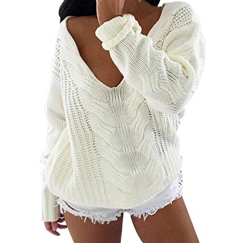 WOCACHI Damen Pullover Frauen lange Hülsen V Ansatz Oberseiten Strickjacke Pullover lose Überbrücker Strickwaren Outwear Sweater Weiß (M, Weiß)
