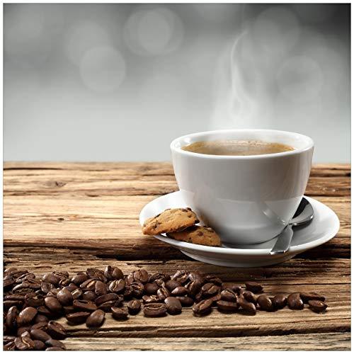Wallario Magnet für Kühlschrank/Geschirrspüler, magnetisch haftende Folie - 60 x 60 cm, Motiv: Heiße Tasse Kaffee mit Kaffeebohnen