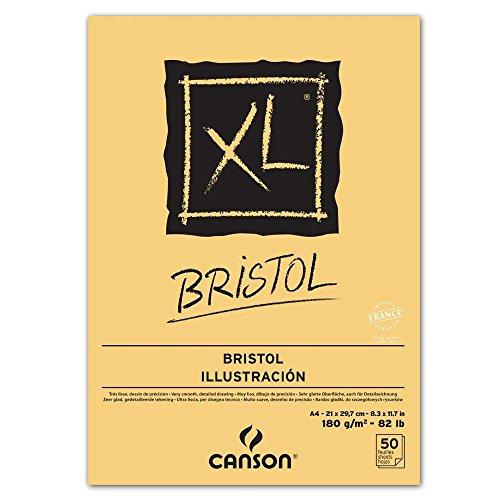 Papel para ilustración Canson Bristol XL, Din A4, medidas 21x29.7 cm, ideal para plumilla, grafito y carboncillo