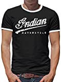 Touchlines Merchandise Indian Motorcycle Kontrast T-Shirt Herren L Schwarz