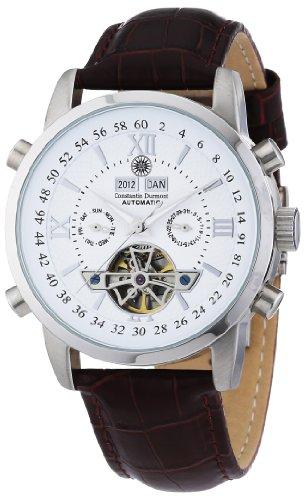 Constantin Durmont Herren-Armbanduhr Calendar Analog Automatik CD-CALE-AT-LT-STST-WH