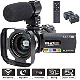 Camcorder Video Camera UGOOD 24 MP Full HD 1080P IR Night Vision WIFI Remote Control Digital Video Camcorder with External Microphone 0.39X Wide Angle Lens 16X Digital Zoom