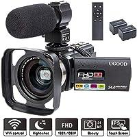 Videokamera UGOOD 1080P 24MP Full HD Camcorder mit Externem Mikrofon WiFi Fernbedienung Video Kamera mit IR Nachtsicht 16X Digitalzoom