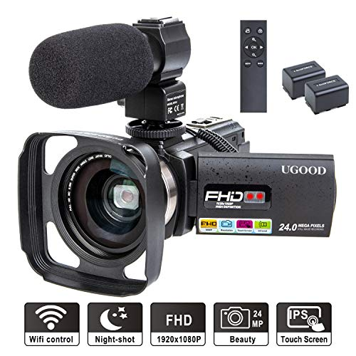 Videokamera UGOOD 1080P 24MP Full HD Camcorder mit Externem Mikrofon WiFi Fernbedienung Video Kamera mit IR Nachtsicht 16X Digitalzoom und 0.39X Weitwinkelobjektiv, 2 Akkus - Camcorder Kamera