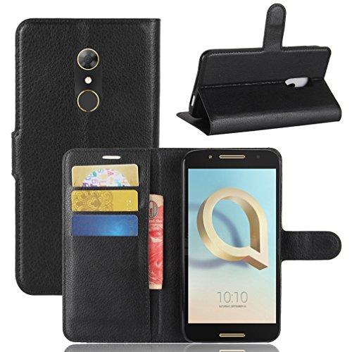 LMAZWUFULM Hülle für Alcatel A7 5090Y (5,5 Zoll) PU Leder Magnet Brieftasche Lederhülle Handytasche Litschi Muster Standfunktion Ledertasche Flip Cover für Alcatel A7 Schwarz