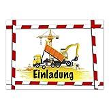 16 Einladungskarten zum Kindergeburtstag - Baufahrzeuge auf Baustelle - für Jungen / Jungs / Mädchen - Geburtstagseinladungen im Set