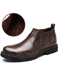 Herren Rindleder Chelsea Boots Kurzschaft Stiefel Freizeitliche Winterschuhe Schlupfstiefel