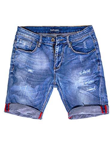 behype. Herren Jeans-Shorts Kurze Hose Destroyed Denim-Hose 80-0160 Blau W32
