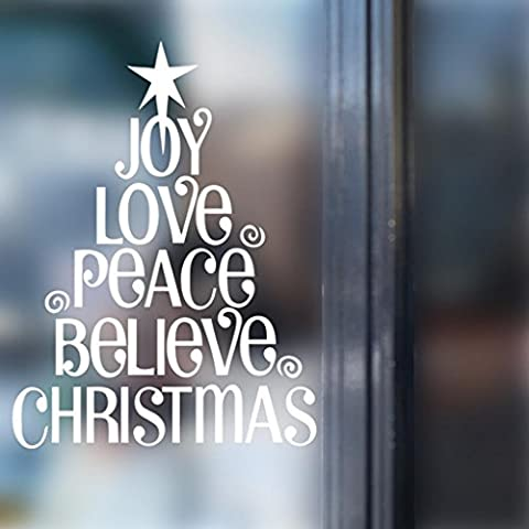 GJX@ Adesivi murali Christmas Tree Wall Sticker casa decorazione vetrina vetro rimovibile Wall Decal , 57*77cm