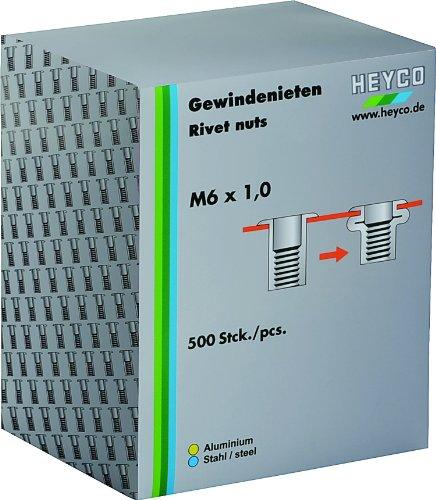 Heytec Heyco 01261400200 Boîte d'écrous de rivets M4 x 0,7